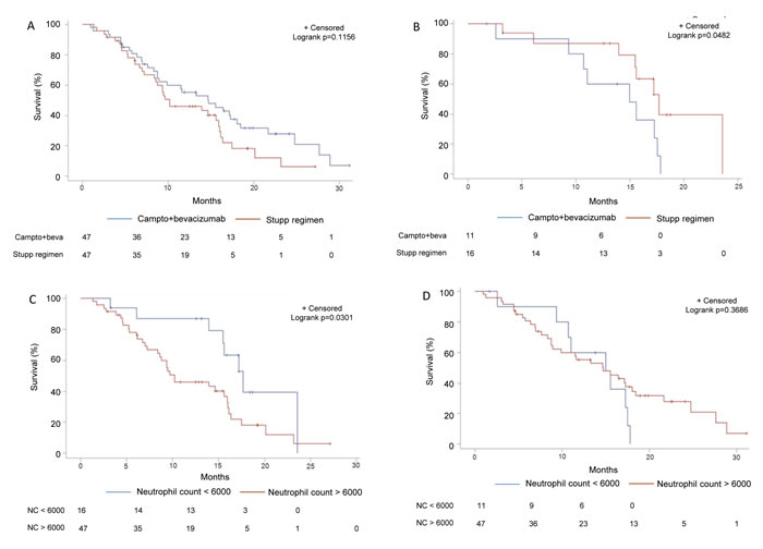 Subgroup analysis of survival in function of bevacizumab usage and neutrophil count in the validation set.