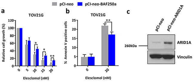 Re-expression of ARID1A in ARID1A-mutant ovarian cancer cells results in increased resistance to treatment with elesclomol.
