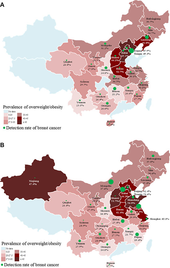 The provincial prevalence of overweight/obesity and the corresponding detection rate of breast cancer (1/105) among Chinese urban (A) and rural (B) women.