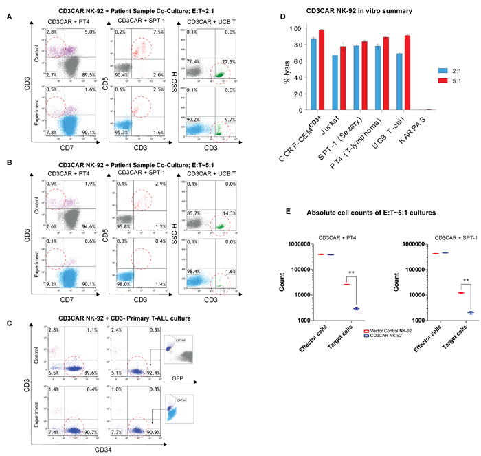 CD3CAR NK-92 cells display robust killing ability for multiple primary CD3+ leukemic cells obtained from patient bone marrow aspirate samples.