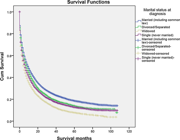 The overall survival of patients with primary liver cancer according to marital status.