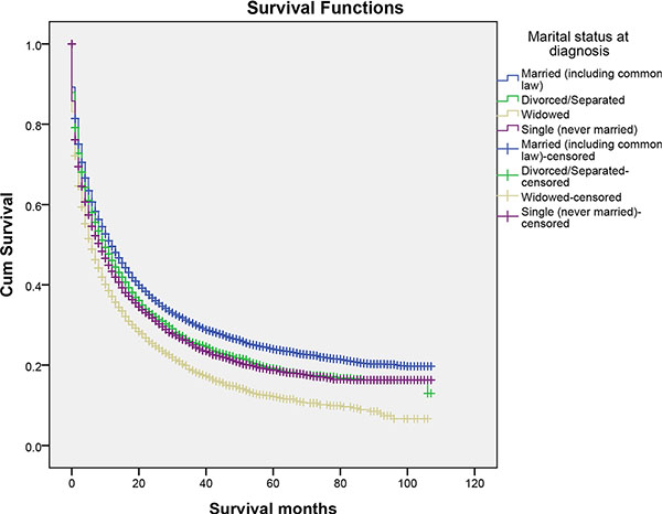 The cancer-caused specific survival of patients with primary liver cancer according to marital status