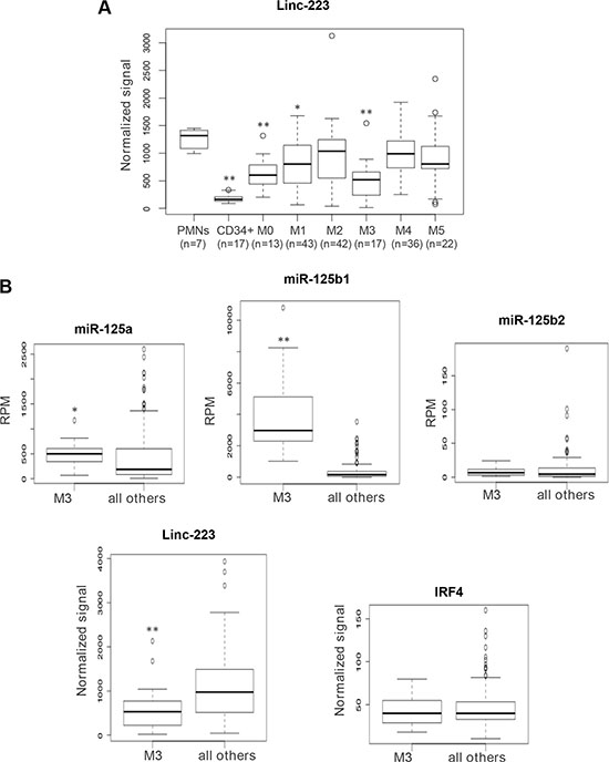 Analysis of linc-223 expression in AML patients and normal hematopoietic cells.