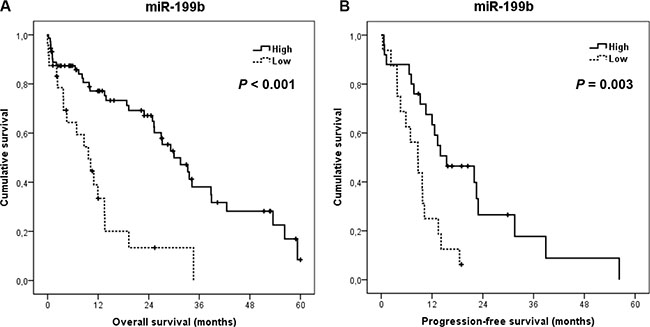 Clinical significance of miR-199b expression levels in metastatic CRC.