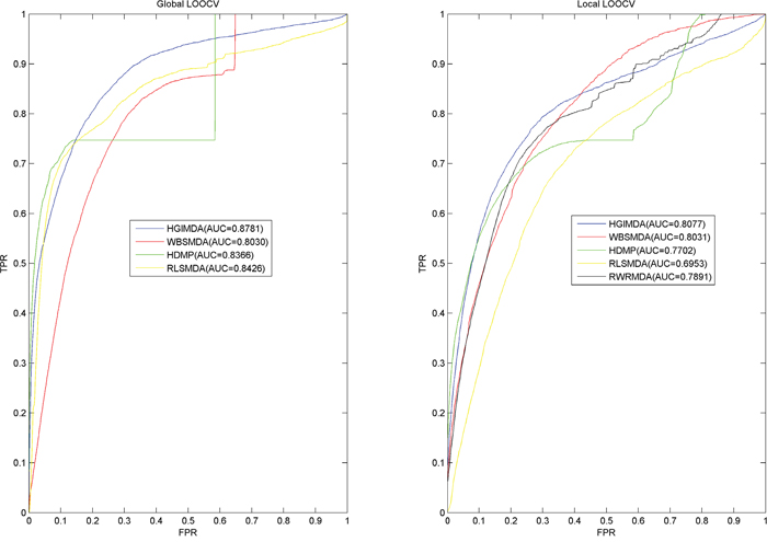 Performance comparisons between HGIMDA and four state-of-the-art disease-miRNA association prediction models (BSMDA, RLSMDA, HDMP, and RWRMDA) in terms of ROC curve and AUC based on local and global LOOCV, respectively.