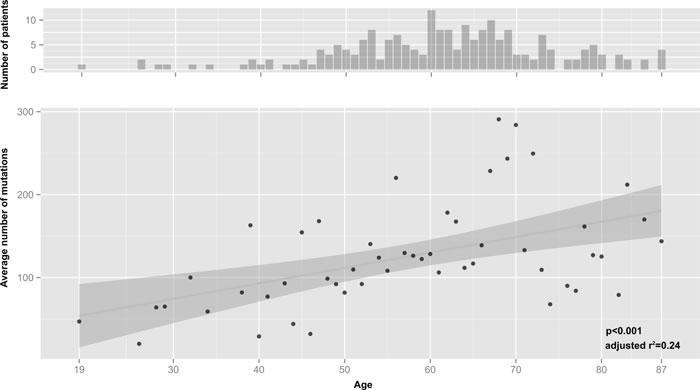 Correlation of average mutations and age considering one mutation per gene.