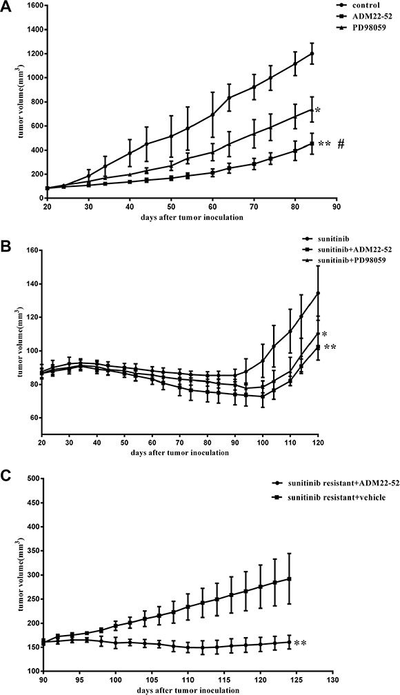 Effects of sunitinib, ADM22-52, PD98059 on the growth rates of mice RCC xenografts.