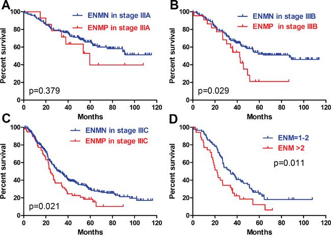 Prognosis of ENMN and ENMP groups in TNM IIIA, IIIB, IIIC stages, and ENM=1-2 and >2.