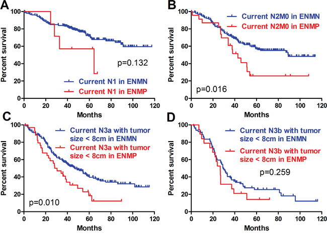 Prognosis of ENMP and ENMN patients in current N stages.