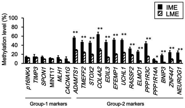 Comparison of methylation levels between intermediate- and low-methylation epigenotypes.