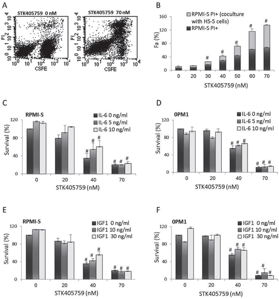 STK405759 overcomes the growth stimulatory effects of BMSCs, IL-6 and IGF1 on MM cells survival.