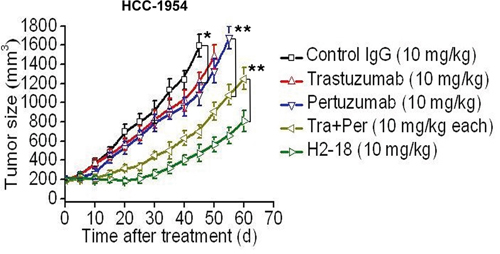 H2-18 potently inhibits the growth of trastuzumab-resistant tumors in vivo.