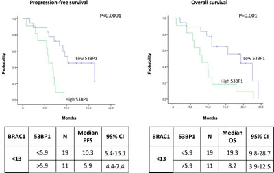 Kaplan-Meier curves showing (A) progression-free survival and (B) overall survival in patients with low BRCA1 expression according to 53BP1 expression levels.
