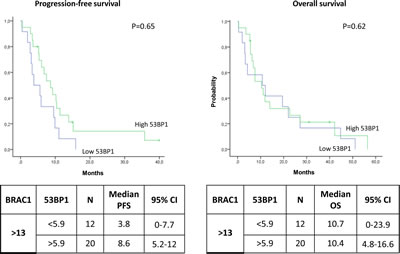 Kaplan-Meier curves showing (A) progression-free survival and (B) overall survival in patients with high BRCA1 expression according to 53BP1 expression levels.