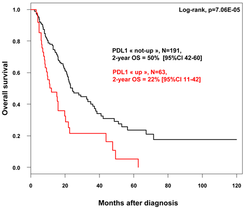 Overall survival according to PDL1 mRNA expression in in patients with pancreatic cancer.