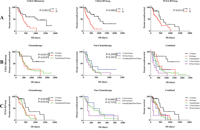 Comparison of prognosis between low and high risk group with MGMT promoter methylation GBM patients and unmethylated GBM patients.