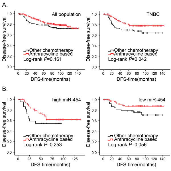 Kaplan-Meier analysis of DFS in patients of breast cancer who received anthracycline-based chemotherapy or other chemotherapy.