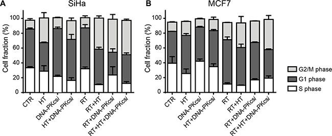 Radiosensitization of DNA-PKcsi and HT is accompanied with an induced G2/M arrest 16 h after radiation.