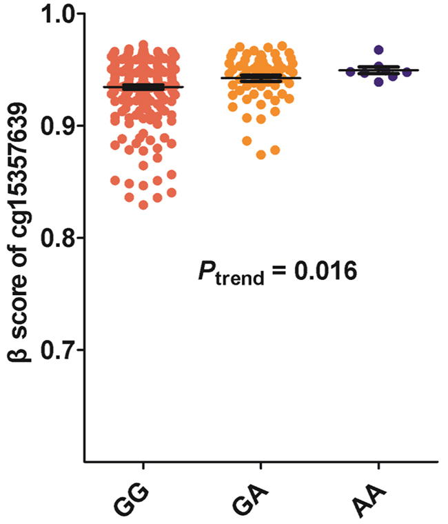 Association between rs125701 polymorphism and the methylation level of CpG site of cg15357639.