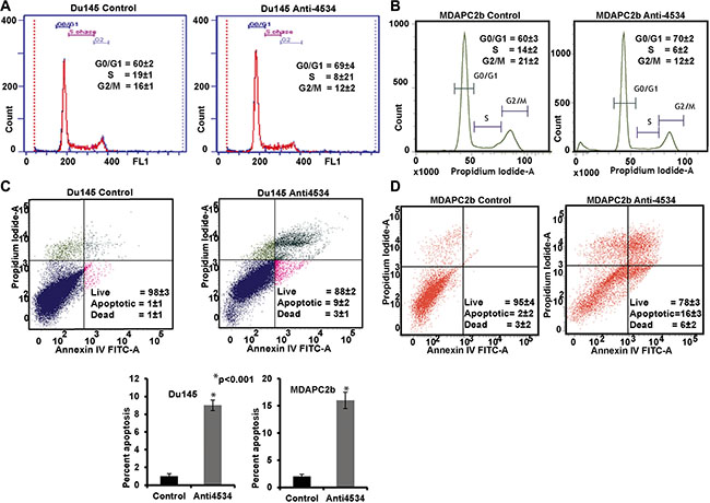 Knockdown of miR-4534 induces G0/G1 cell cycle arrest and apoptosis in prostate cancer cells.