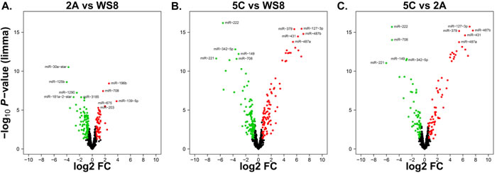 Volcano plots illustrating the differentially expressed miRNAs of breast cancer AI resistance cell models.