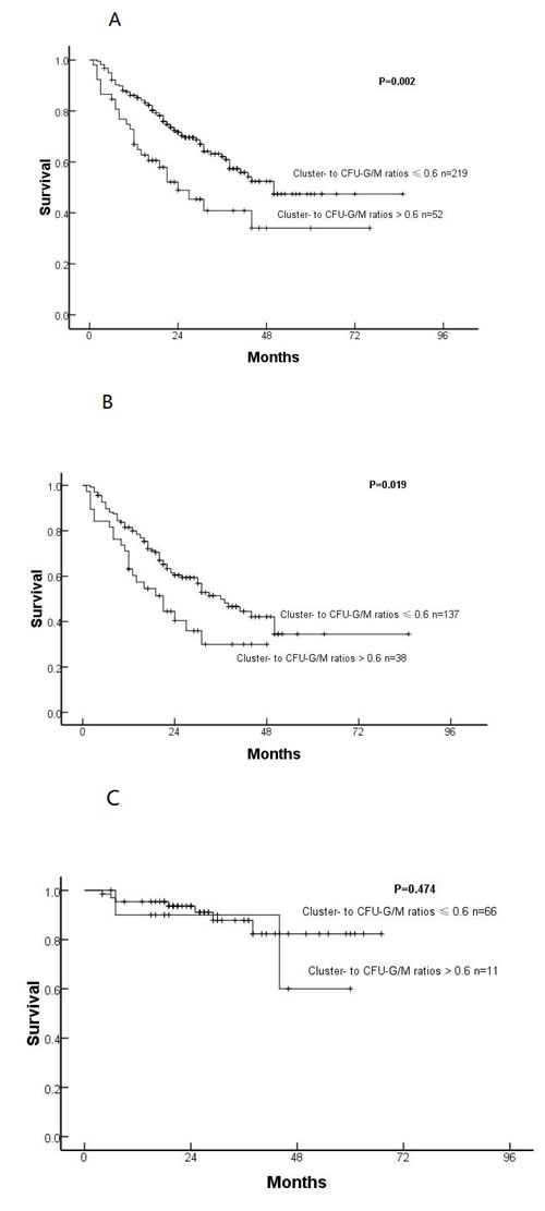 Overall survival in all subjects (A), IPSS-R higher-risk cohort (B) and IPSS-R lower-risk cohort (C) with cluster- to CFU-G/M ratios ≤or > 0.6