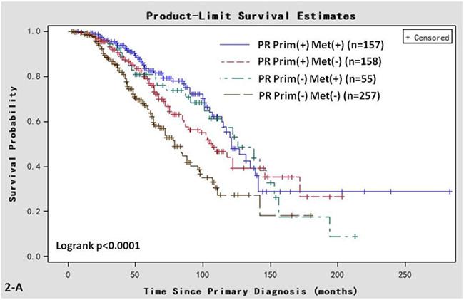 Kaplan-Meier survival curves in women of various PR status subtypes.