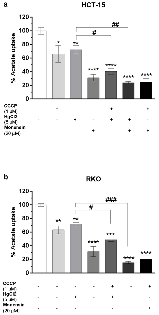 Inhibition of 1 mM of acetate uptake by CCCP (1 μM), HgCl2 (5 μM) and Monensin (20 μM) alone or in combination in HCT-15 a. and RKO b. cells.