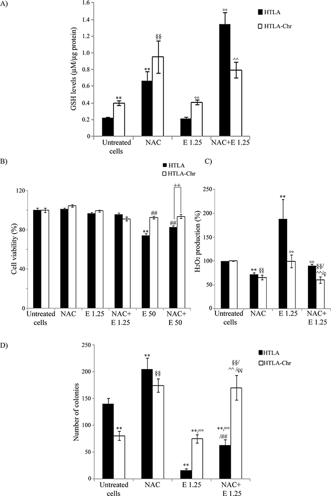 NAC treatment enhances GSH levels, decreases H2O2 production and markedly promotes the tumorigenic potential of neuroblastoma cells.