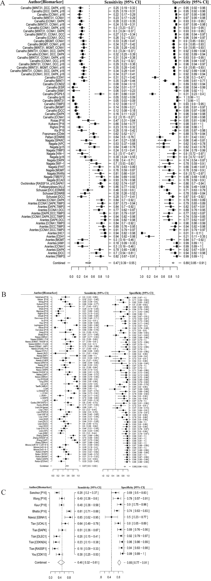 Forest plot of estimate of diagnostic accuracy using methylated biomarkers.