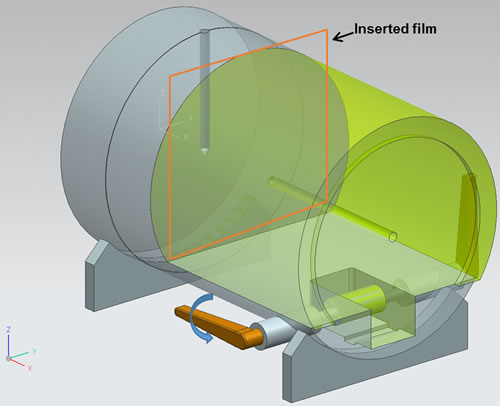 The film was placed between two pieces of a custom-made cylindrical phantom.