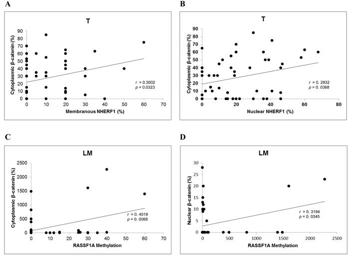 Correlation analysis among β-catenin, RASSF1A and NHERF1 in metastatic CRC.