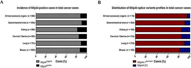 NKp44 splice variants profiles in cancer tissues.