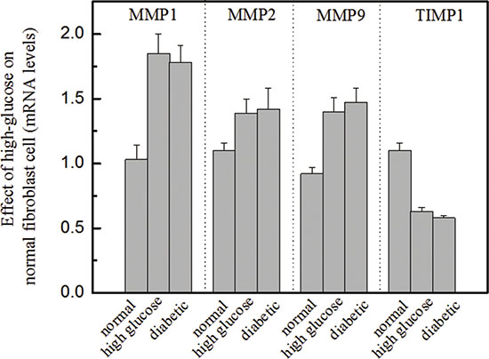 Effects of high glucose on the molecular biomarkers of normal fibroblasts Legend.