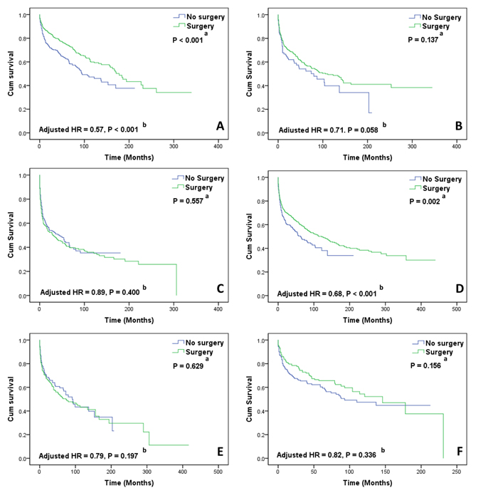 Kaplan-Meier curves of overall survival in subgroup analyses.
