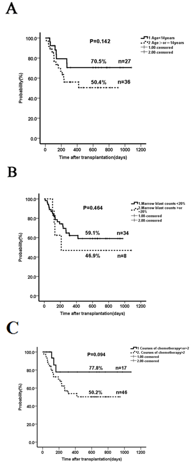 The impact of age, marrow blasts, previous cycles of chemotherapy and donor-recipient gender pairs on overall survival.
