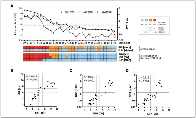 HER2/ERBB2 CN detection by three methods (FISH, MIP, NGS/NAC).