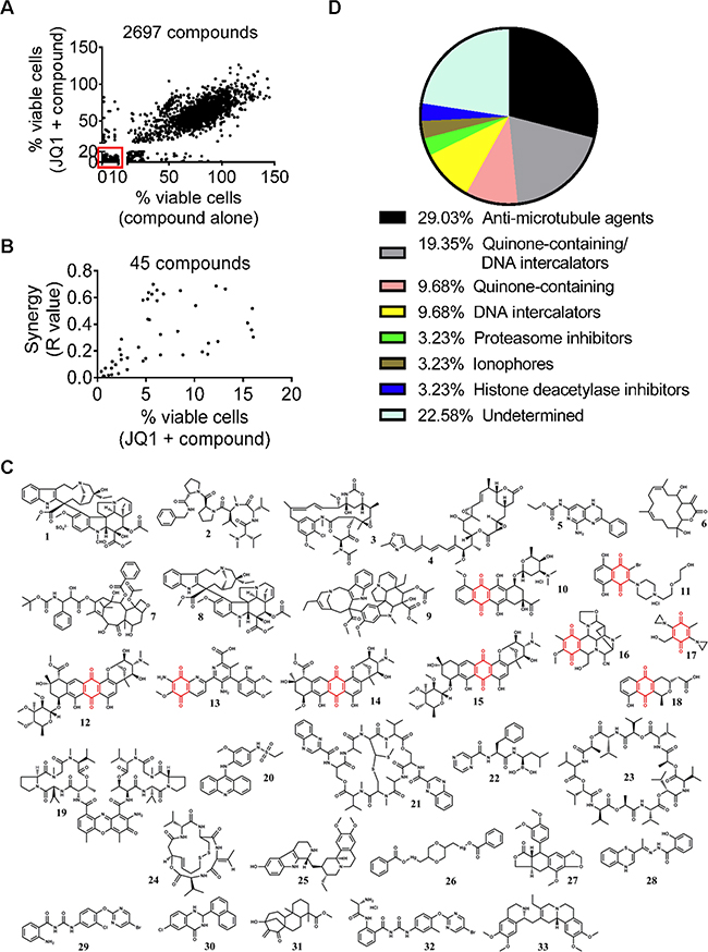 Small molecule library screen identifies two major groups of compounds that synergize with JQ1.