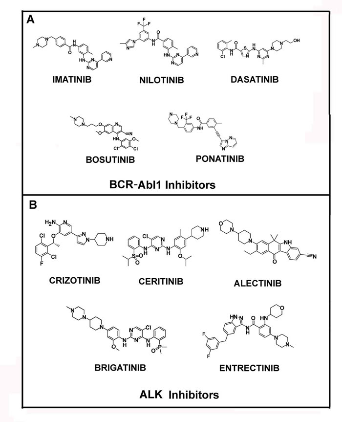 Structures of Bcr-Abl1 and ALK inhibitors.