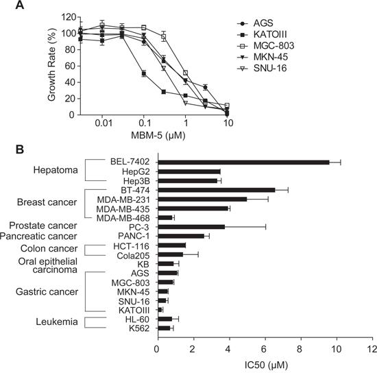 MBM-5 has in vitro antitumor activities against cancer cells.
