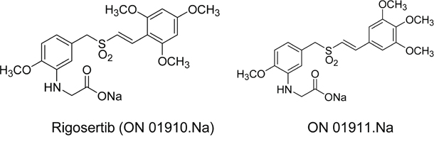Molecular structures of rigosertib and ON 01911.Na.