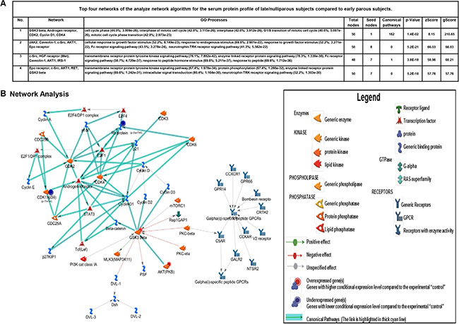 Bioinformatics analysis of altered networks in late/nulliparous serum proteome.