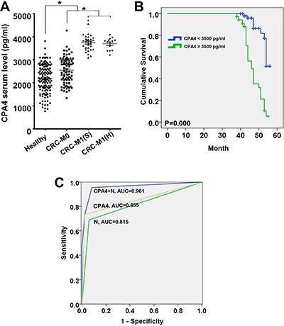 Estimated overall survival according to the expression of CPA4 in tissues and serum samples of colorectal cancer (CRC).