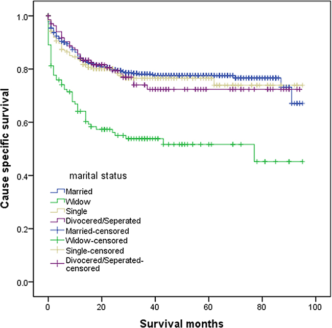 Survival curves of patients with colorectal neuroendocrine tumor according to marital status.
