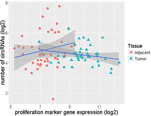 Lower number of circRNAs as gene proliferation increases in ER+ tumor samples.