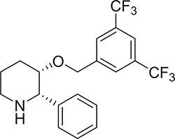 Chemical structures of (2S,3S)-3-[(3,5-bis (Trifluoromethyl) phenyl) methoxy]-2-phenylpiperidine hydrochloride (L-733060).