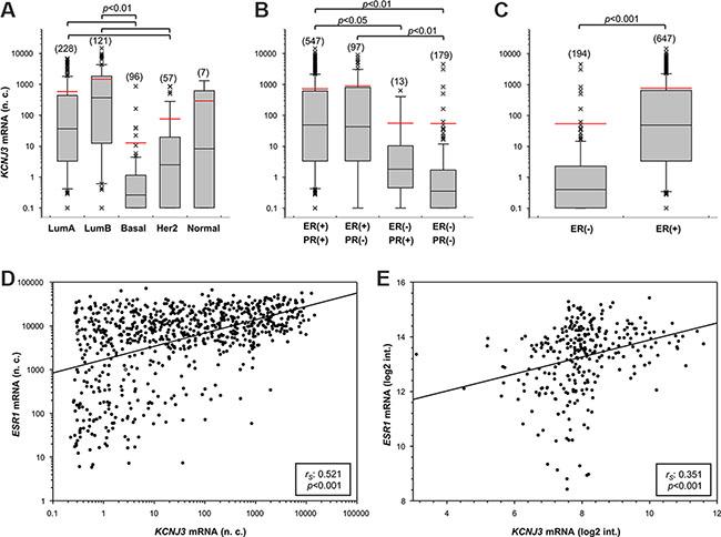 KCNJ3 mRNA levels are upregulated in estrogen receptor positive breast cancer samples.
