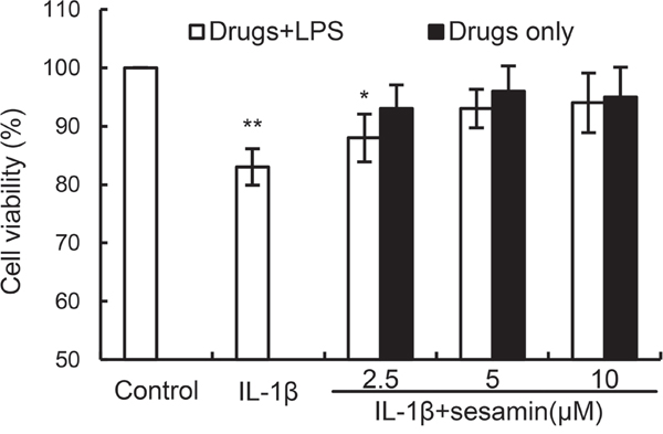 Effects of sesamin on the cell viability of chondrocytes.