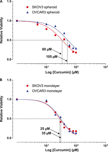 Cytotoxic effects of curcumin on SKOV3 and OVCAR3 monolayers and spheroids.