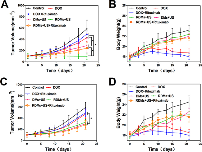 Anti-tumor treatment effects in Raji and Jurkat cell-grafted mice.